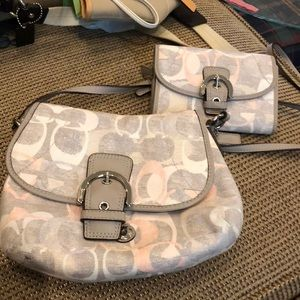 Coach cross over body bag with matching wallet